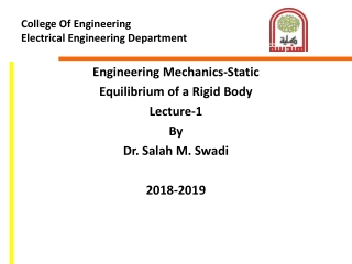EQUILIBRIUM OF A RIGID BODY  FREE-BODY DIAGRAMS