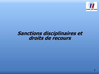 Sanctions disciplinaires et droits de recours
