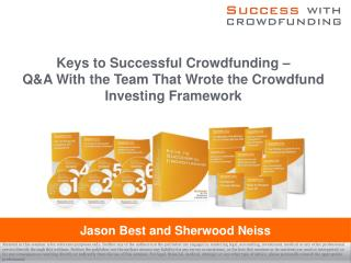 Keys to Successful Crowdfunding –  Q&A With the Team That Wrote the Crowdfund Investing Framework