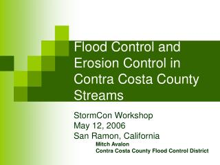 Flood Control and Erosion Control in Contra Costa County Streams