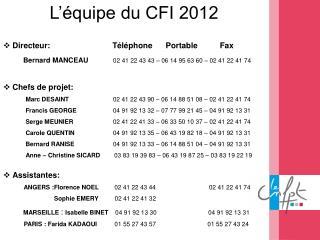 L'équipe du CFI 2012 Directeur:                            Téléphone      Portable          Fax