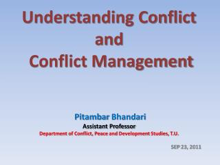 Understanding Conflict and  Conflict Management