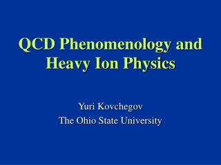 QCD Phenomenology and Heavy Ion Physics