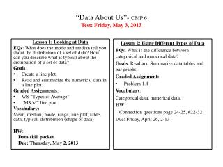 """Data About  Us ""-  CMP  6 Test: Friday, May 3, 2013"