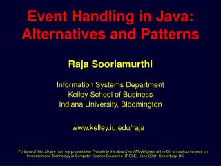 Event Handling in Java:  Alternatives and Patterns