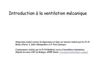 Introduction à la ventilation mécanique