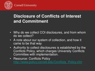 Disclosure of Conflicts of Interest  and Commitment