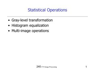 Statistical Operations