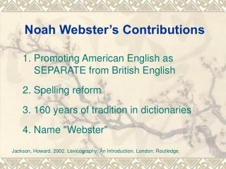 Noah Webster's Contributions
