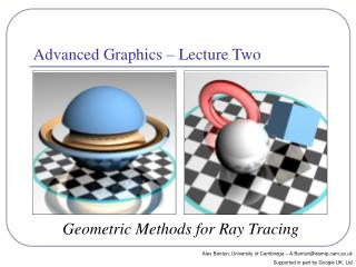 Advanced Graphics – Lecture Two