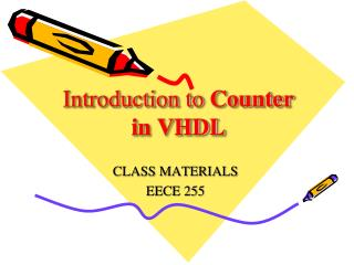 Introduction to  Counter in VHDL