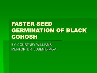 FASTER SEED GERMINATION OF BLACK COHOSH
