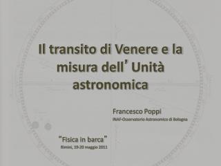 Il transito di Venere e la misura dell Unit  astronomica