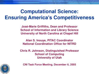 Computational Science:   Ensuring America�s Competitiveness