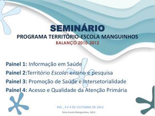 PROGRAMA TERRITÓRIO-ESCOLA MANGUINHOS BALANÇO 2010-2012