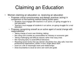 Claiming an Education