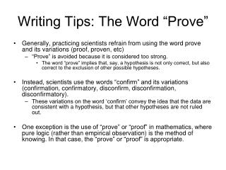 "Writing Tips: The Word ""Prove"""