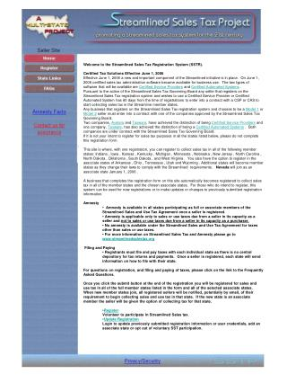 Welcome to the Streamlined Sales Tax Registration System (SSTR).