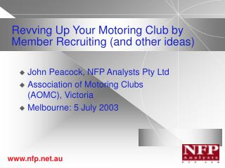 Revving Up Your Motoring Club by Member Recruiting (and other ideas)