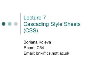 Lecture 7 Cascading Style Sheets (CSS)
