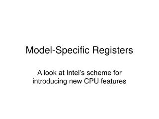 Model-Specific Registers