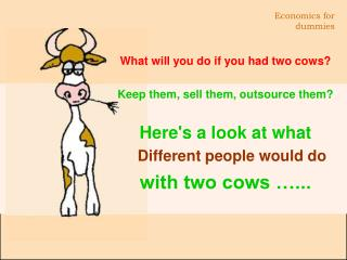 What will you do if you had two cows? Keep them, sell them, outsource them?