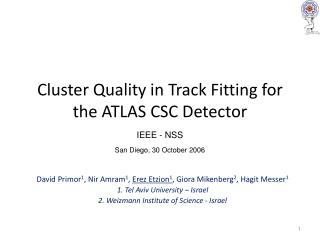 Cluster Quality in Track Fitting for the ATLAS CSC Detector