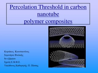 Percolation Threshold in  carbon nanotube polymer composites