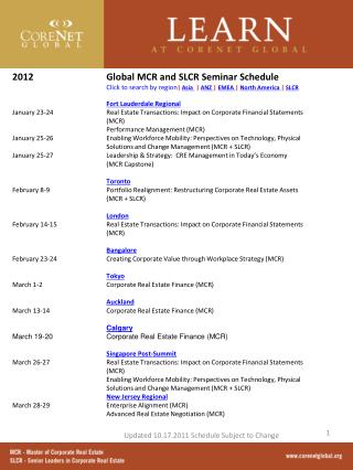 Global MCR and SLCR Seminar Schedule