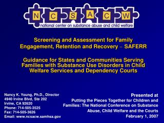 Screening and Assessment for Family Engagement, Retention and Recovery  – SAFERR