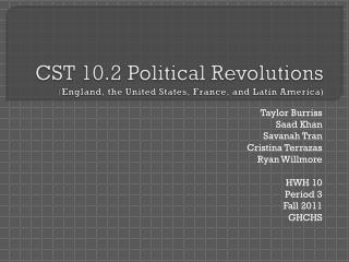 CST 10.2 Political Revolutions ( England, the United States, France, and Latin America)