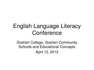 English Language Literacy Conference