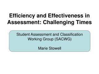 Efficiency and Effectiveness in Assessment: Challenging Times