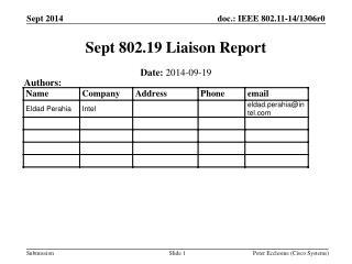 Sept 802.19 Liaison Report