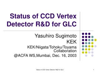 Status of CCD Vertex Detector R&D for GLC