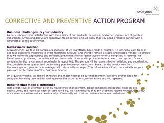 CORRECTIVE AND PREVENTIVE  ACTION PROGRAM