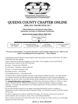 Queens County Chapter Officers 2008-2010