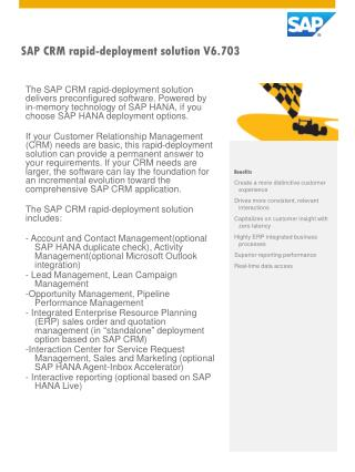 SAP CRM rapid-deployment solution V6.703