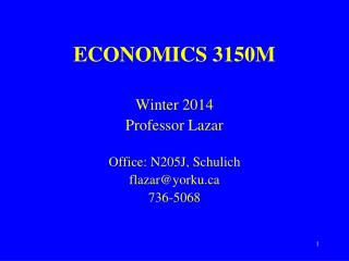 ECONOMICS 3150M