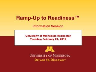 Ramp-Up to Readiness�