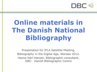 Online materials in The Danish National Bibliography