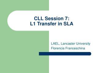 CLL Session 7:  L1 Transfer in SLA