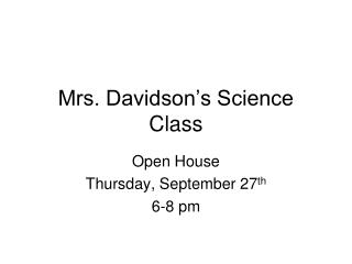 Mrs. Davidson's Science Class