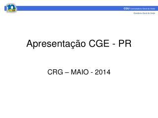 Apresentação CGE - PR