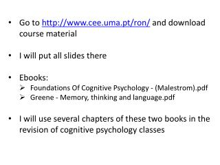 Go to  cee.uma.pt/ron/  and download course material I will put all slides there