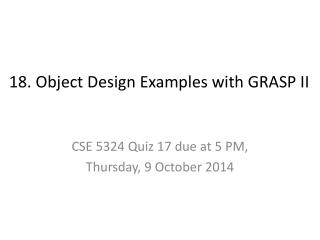 18. Object Design Examples  with  GRASP II