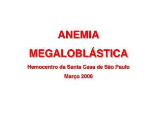 ANEMIA MEGALOBLÁSTICA Hemocentro da Santa Casa de São Paulo Março 2006