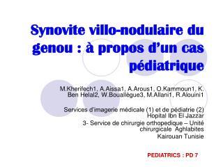 Synovite  villo -nodulaire du genou: à propos d'un cas pédiatrique