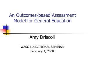 An Outcomes-based Assessment Model for General Education