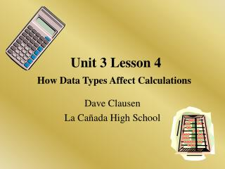 Unit 3 Lesson 4 How Data Types Affect Calculations